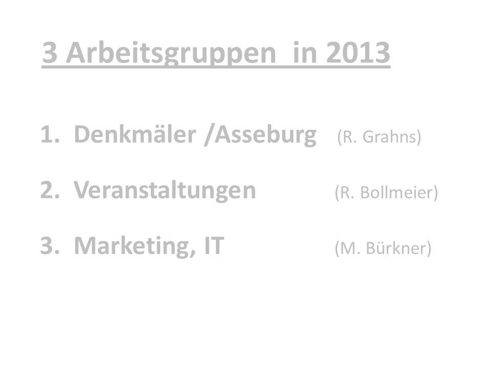 3 Arbeitsgruppen in 2013 1.Denkmäler /Asseburg (R. Grahns) 2.Veranstaltungen (R. Bollmeier) 3.Marketing, IT (M. Bürkner)