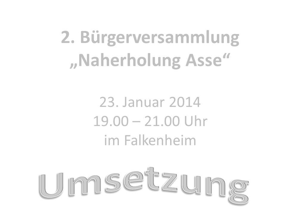2. Bürgerversammlung Naherholung Asse 23. Januar 2014 19.00 – 21.00 Uhr im Falkenheim