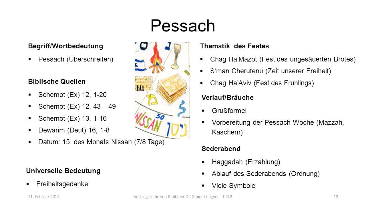 Pessach 11. Februar 2014Vortragsreihe von Rabbiner Dr. Gabor Lengyel Teil 212 Begriff/Wortbedeutung Pessach (Überschreiten) Biblische Quellen Schemot