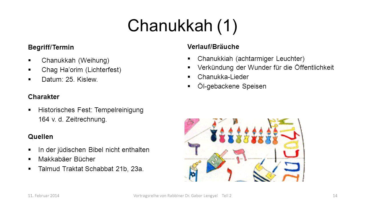 Chanukkah (1) 11. Februar 2014Vortragsreihe von Rabbiner Dr. Gabor Lengyel Teil 214 Begriff/Termin Chanukkah (Weihung) Chag Haorim (Lichterfest) Datum