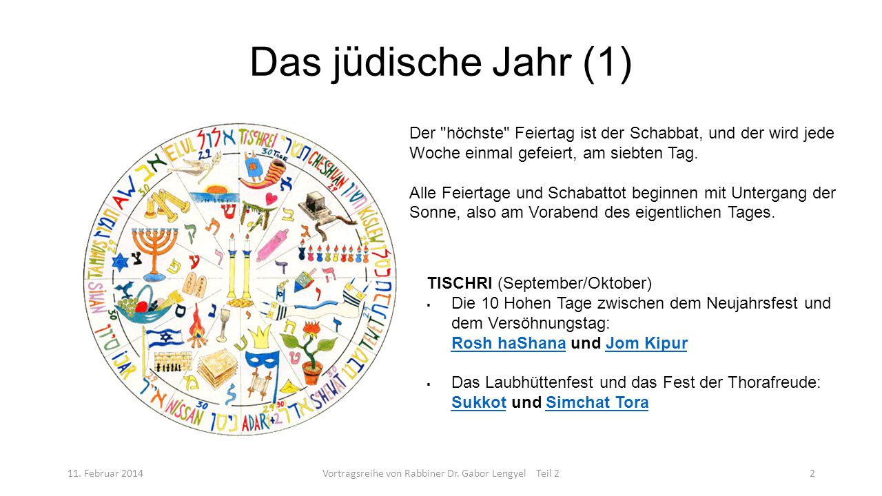 Das jüdische Jahr (1) 11. Februar 2014Vortragsreihe von Rabbiner Dr. Gabor Lengyel Teil 22 Der