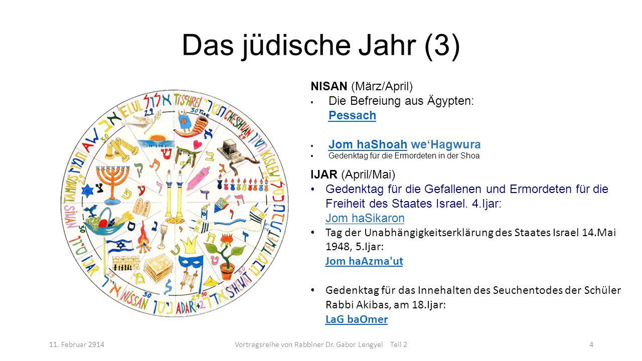 Das jüdische Jahr (3) 11. Februar 2914Vortragsreihe von Rabbiner Dr. Gabor Lengyel Teil 24 NISAN (März/April) Die Befreiung aus Ägypten: Pessach Pessa