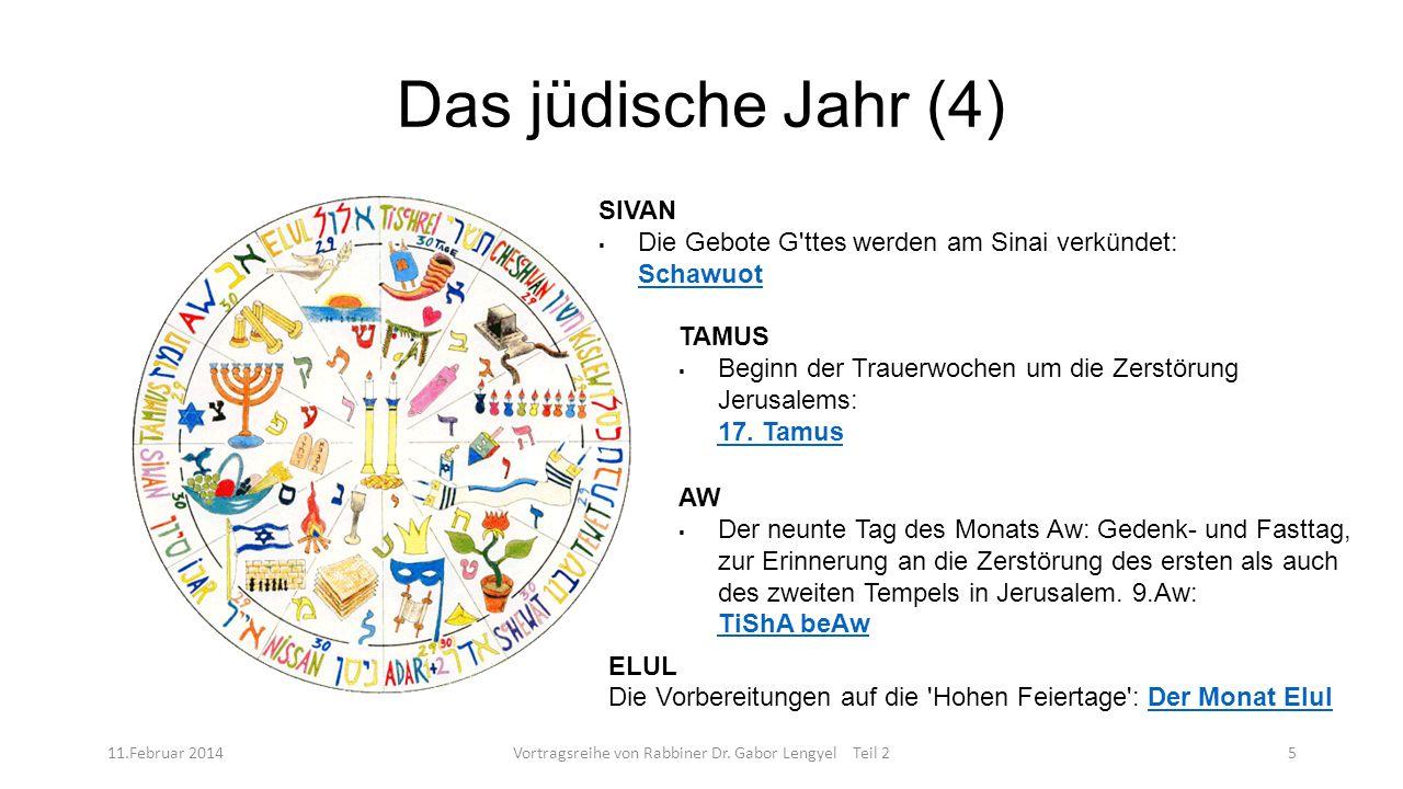 Das jüdische Jahr (4) 11.Februar 2014Vortragsreihe von Rabbiner Dr. Gabor Lengyel Teil 25 SIVAN Die Gebote G'ttes werden am Sinai verkündet: Schawuot