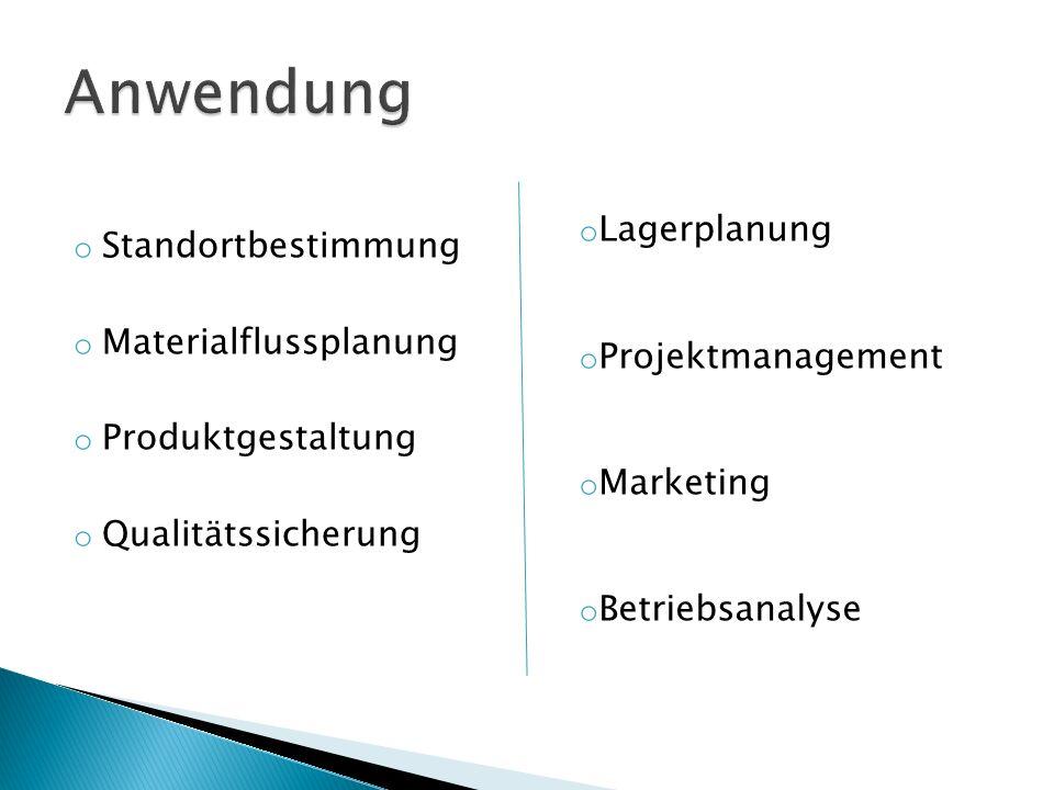 o Standortbestimmung o Materialflussplanung o Produktgestaltung o Qualitätssicherung o Lagerplanung o Projektmanagement o Marketing o Betriebsanalyse