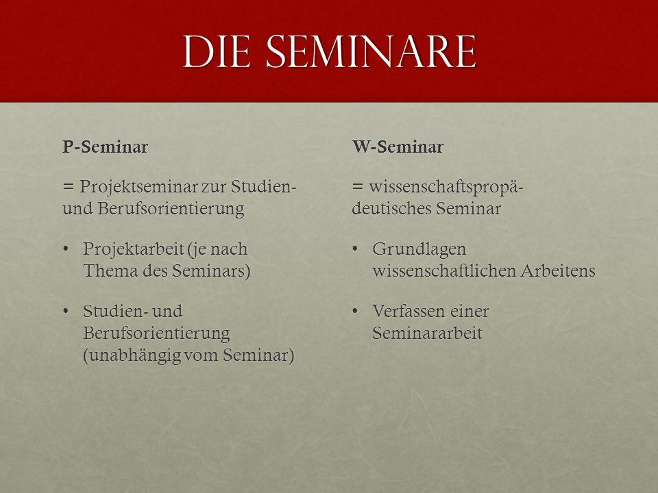 Die Seminare P-Seminar = Projektseminar zur Studien- und Berufsorientierung Projektarbeit (je nach Thema des Seminars)Projektarbeit (je nach Thema des