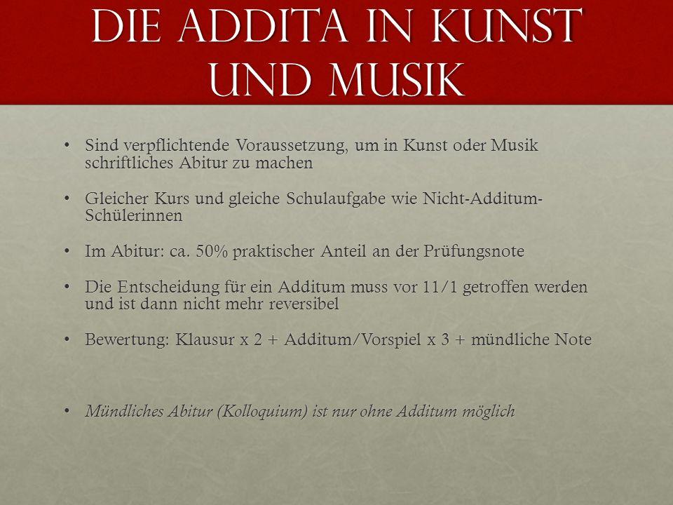 Die Addita in Kunst und Musik Sind verpflichtende Voraussetzung, um in Kunst oder Musik schriftliches Abitur zu machenSind verpflichtende Voraussetzun