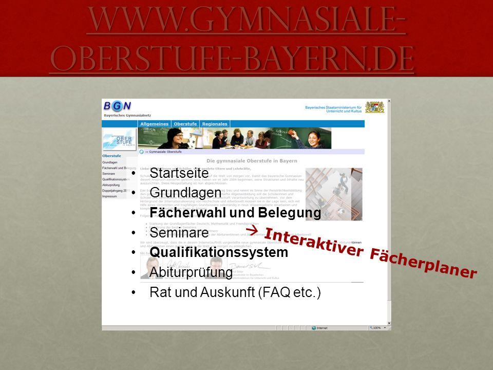 www.gymnasiale- oberstufe-bayern.de www.gymnasiale- oberstufe-bayern.de Startseite Grundlagen Fächerwahl und Belegung Seminare Qualifikationssystem Ab