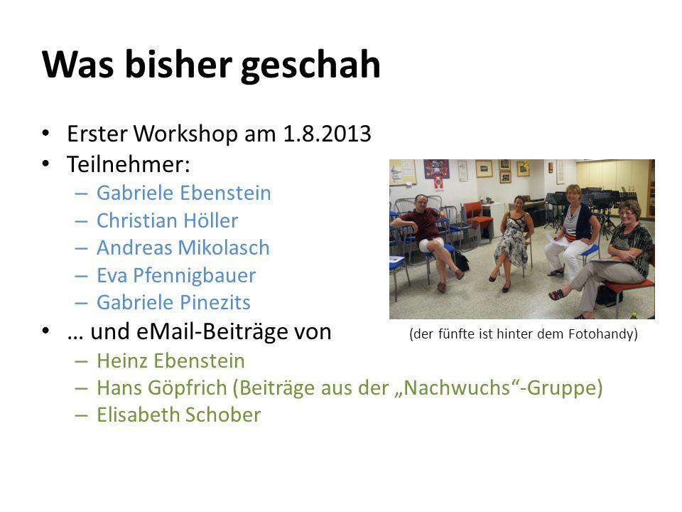 Was bisher geschah Erster Workshop am 1.8.2013 Teilnehmer: – Gabriele Ebenstein – Christian Höller – Andreas Mikolasch – Eva Pfennigbauer – Gabriele P
