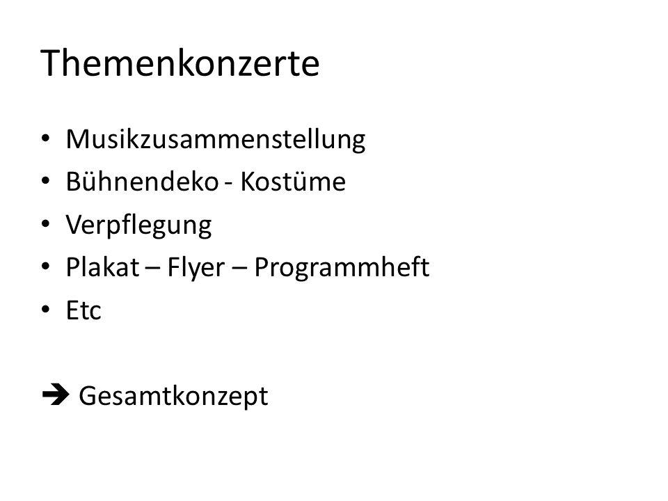 Themenkonzerte Musikzusammenstellung Bühnendeko - Kostüme Verpflegung Plakat – Flyer – Programmheft Etc Gesamtkonzept