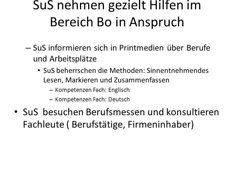SuS nehmen gezielt Hilfen im Bereich Bo in Anspruch – SuS informieren sich in Printmedien über Berufe und Arbeitsplätze SuS beherrschen die Methoden: