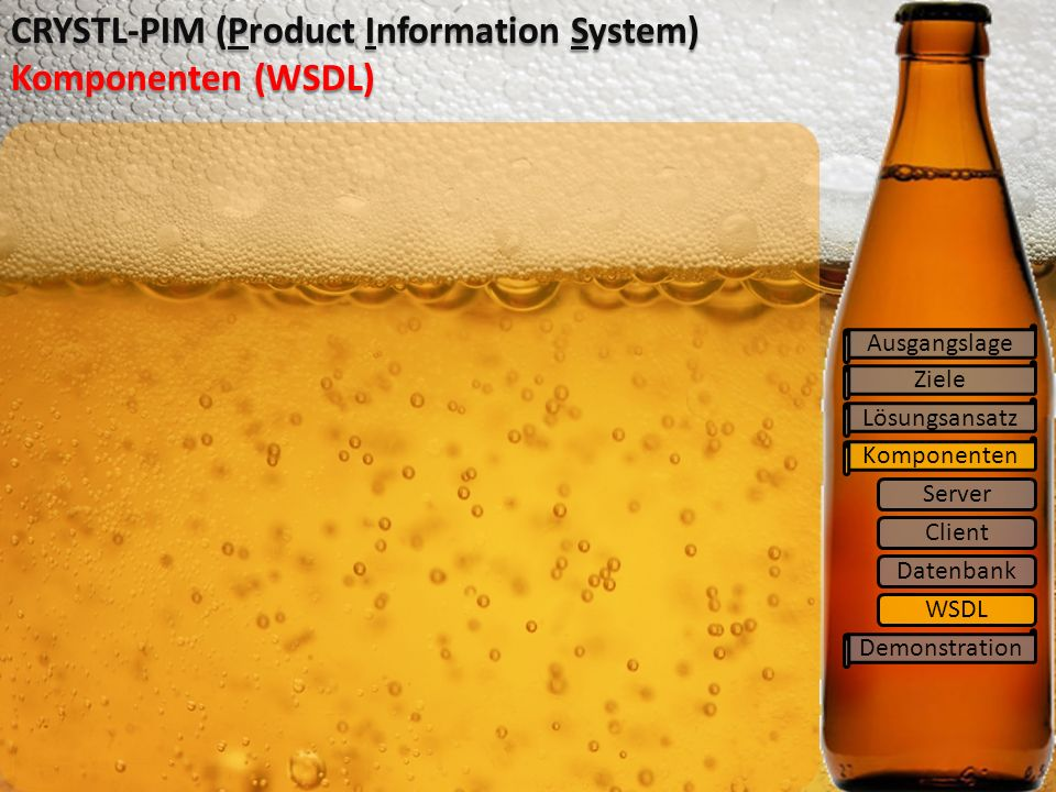 Ziele Lösungsansatz Komponenten Demonstration CRYSTL-PIM (Product Information System) Komponenten (WSDL) Ausgangslage Server Client Datenbank WSDL