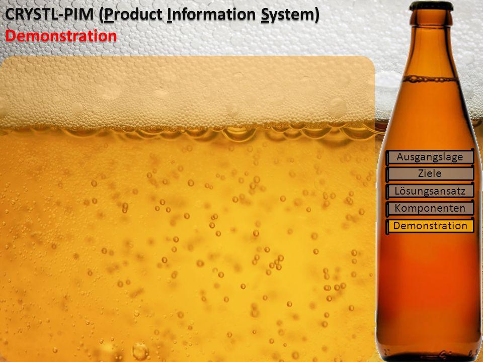 Ziele Lösungsansatz Komponenten Demonstration CRYSTL-PIM (Product Information System) Demonstration Ausgangslage