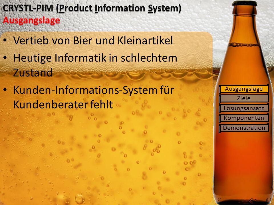 Ziele Lösungsansatz Komponenten Demonstration CRYSTL-PIM (Product Information System) Ausgangslage Ausgangslage Vertieb von Bier und Kleinartikel Heutige Informatik in schlechtem Zustand Kunden-Informations-System für Kundenberater fehlt