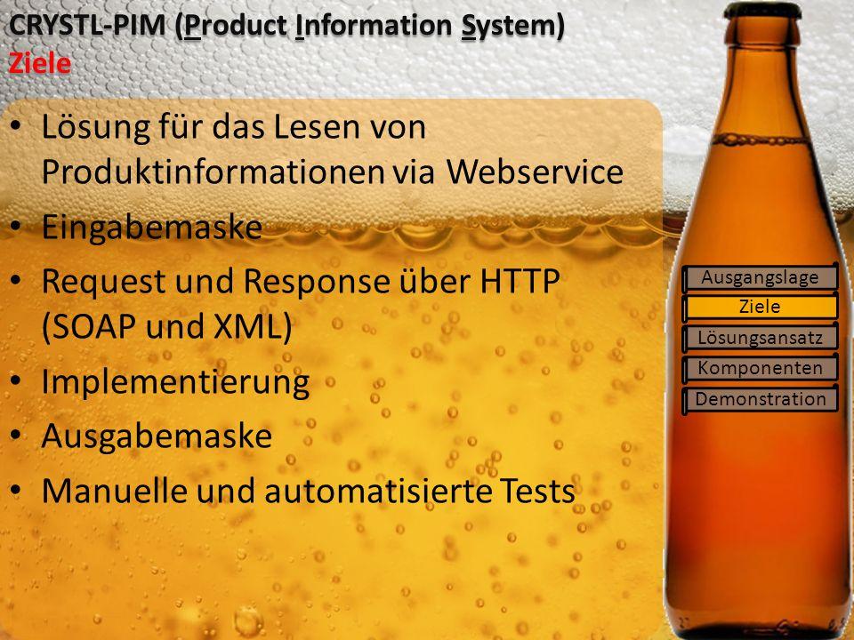 Ziele Lösungsansatz Komponenten Demonstration CRYSTL-PIM (Product Information System) Ziele Ausgangslage Lösung für das Lesen von Produktinformationen via Webservice Eingabemaske Request und Response über HTTP (SOAP und XML) Implementierung Ausgabemaske Manuelle und automatisierte Tests