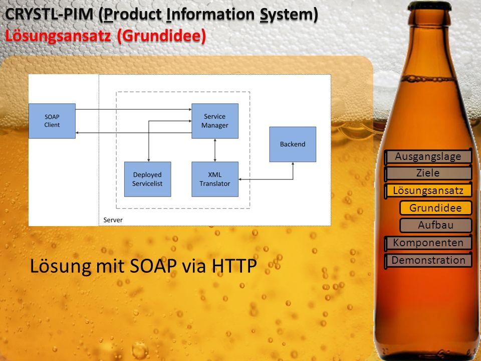Grundidee Ziele Lösungsansatz Komponenten Demonstration CRYSTL-PIM (Product Information System) Lösungsansatz (Grundidee) Lösung mit SOAP via HTTP Ausgangslage Aufbau