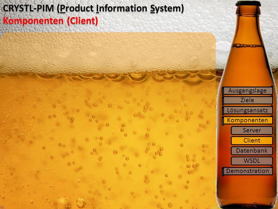 Ziele Lösungsansatz Komponenten Demonstration CRYSTL-PIM (Product Information System) Komponenten (Client) Ausgangslage Server Client Datenbank WSDL