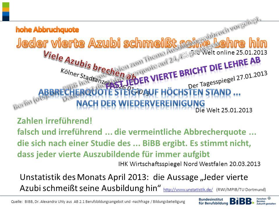 Quelle: BIBB, Dr. Alexandra Uhly aus AB 2.1 Berufsbildungsangebot und -nachfrage / Bildungsbeteiligung Zahlen irreführend! falsch und irreführend... d