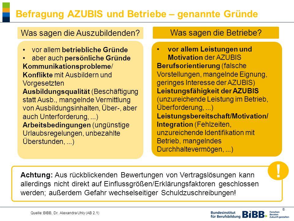 ® Quelle: BIBB, Dr. Alexandra Uhly (AB 2.1) Befragung AZUBIS und Betriebe – genannte Gründe vor allem betriebliche Gründe aber auch persönliche Gründe