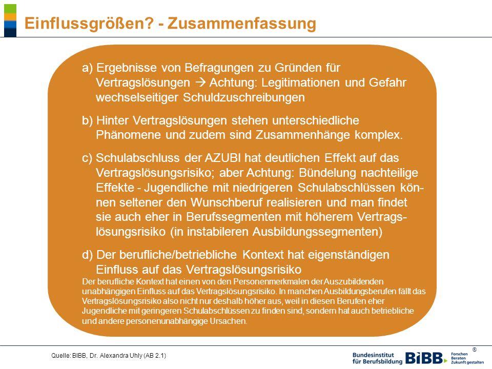 ® Quelle: BIBB, Dr. Alexandra Uhly (AB 2.1) Einflussgrößen? - Zusammenfassung a) Ergebnisse von Befragungen zu Gründen für Vertragslösungen Achtung: L