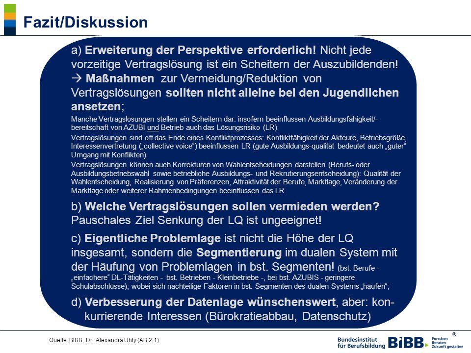 ® Quelle: BIBB, Dr. Alexandra Uhly (AB 2.1) Fazit/Diskussion a) Erweiterung der Perspektive erforderlich! Nicht jede vorzeitige Vertragslösung ist ein
