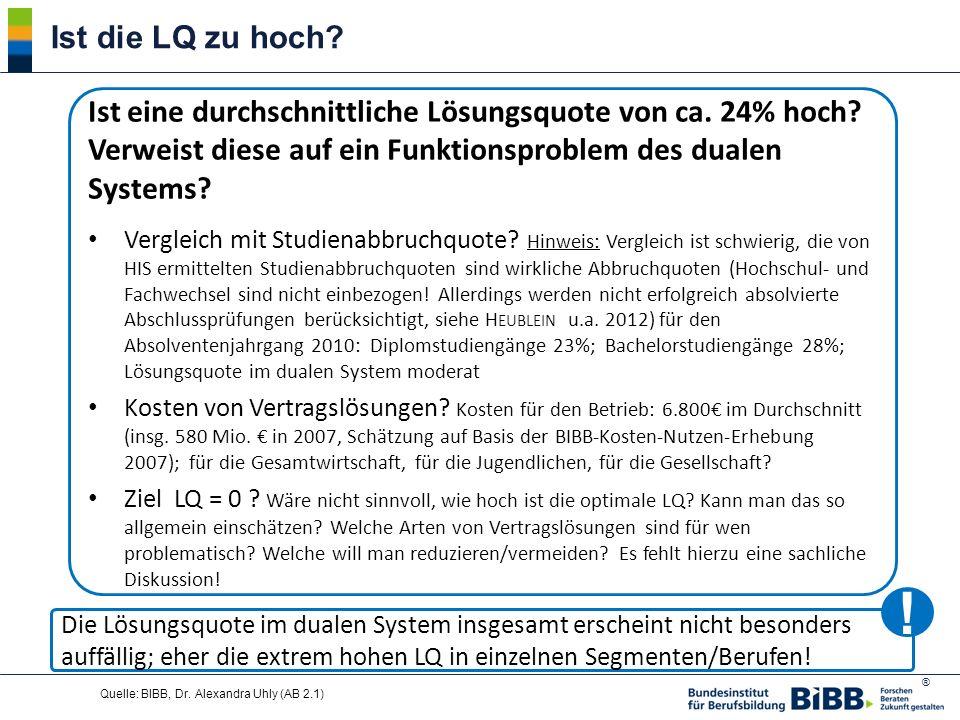 ® Quelle: BIBB, Dr. Alexandra Uhly (AB 2.1) Ist eine durchschnittliche Lösungsquote von ca. 24% hoch? Verweist diese auf ein Funktionsproblem des dual