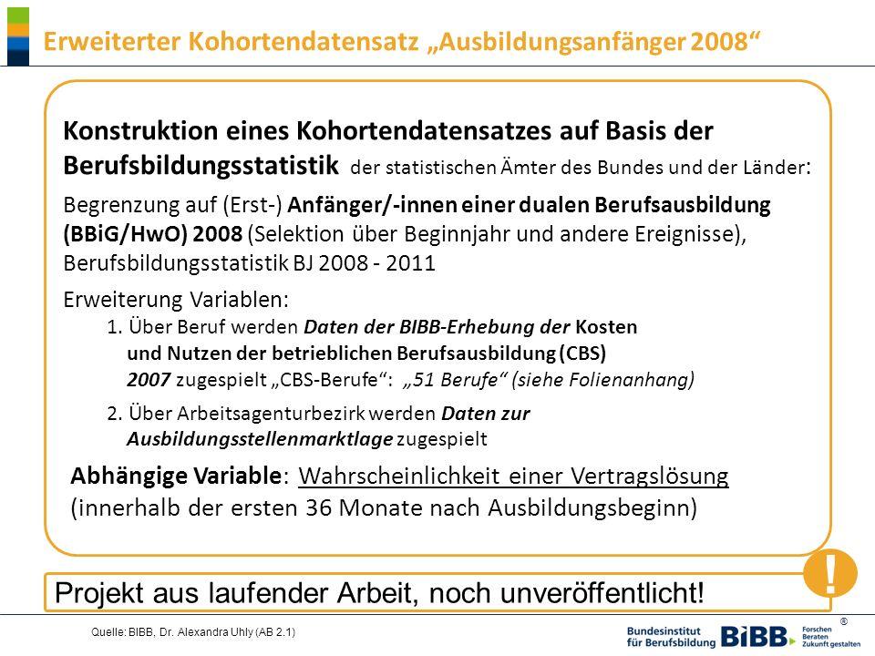 ® Quelle: BIBB, Dr. Alexandra Uhly (AB 2.1) Erweiterter Kohortendatensatz Ausbildungsanfänger 2008 Konstruktion eines Kohortendatensatzes auf Basis de