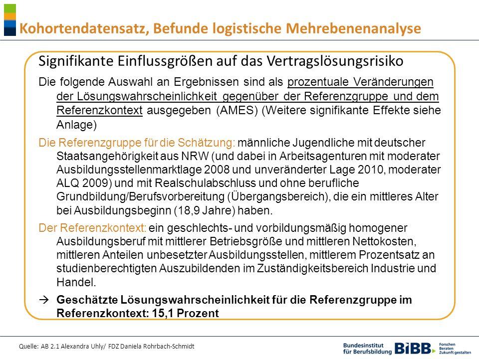 Quelle: AB 2.1 Alexandra Uhly/ FDZ Daniela Rohrbach-Schmidt Kohortendatensatz, Befunde logistische Mehrebenenanalyse Signifikante Einflussgrößen auf d