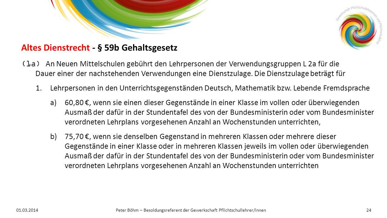 01.03.2014Peter Böhm – Besoldungsreferent der Gewerkschaft Pflichtschullehrer/innen24 (1a) An Neuen Mittelschulen gebührt den Lehrpersonen der Verwend