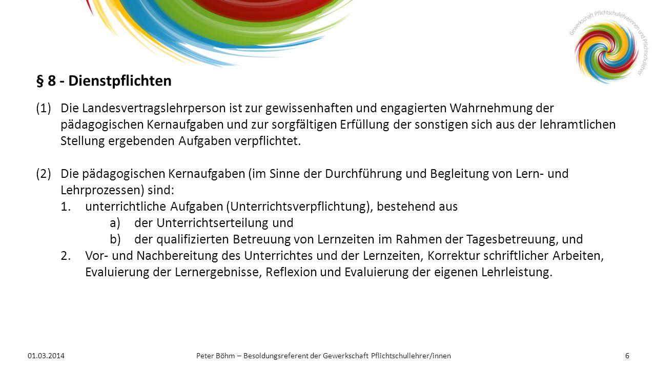 01.03.2014Peter Böhm – Besoldungsreferent der Gewerkschaft Pflichtschullehrer/innen6 (1)Die Landesvertragslehrperson ist zur gewissenhaften und engagi