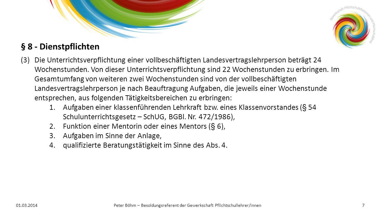 01.03.2014Peter Böhm – Besoldungsreferent der Gewerkschaft Pflichtschullehrer/innen7 (3)Die Unterrichtsverpflichtung einer vollbeschäftigten Landesver