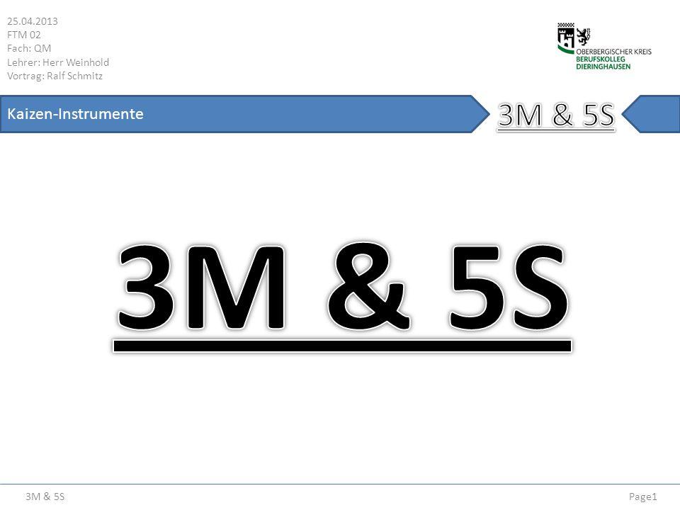 3M & 5S 25.04.2013 FTM 02 Fach: QM Lehrer: Herr Weinhold Vortrag: Ralf Schmitz Page22 Kaizen-Instrumente Straffen (Seiton ( )) Straffen (Beispiel) Vorher Nachher Zusammen- gefasster Arbeitsplatz mit integrierter Presse