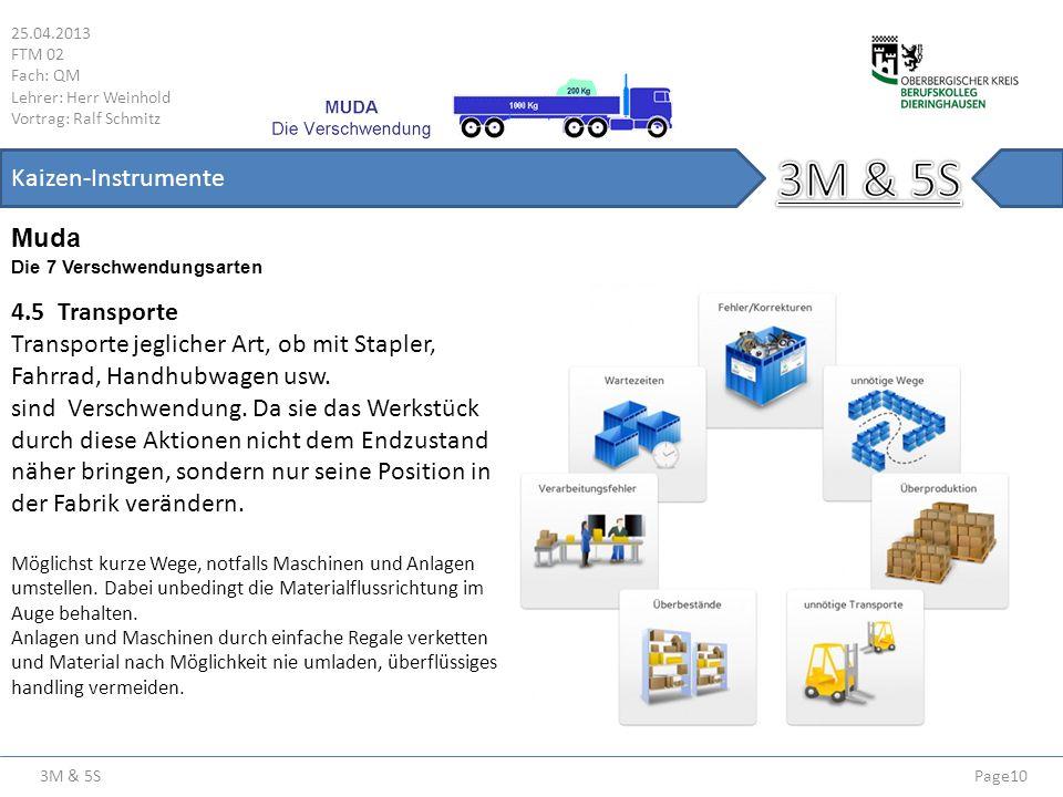 3M & 5S 25.04.2013 FTM 02 Fach: QM Lehrer: Herr Weinhold Vortrag: Ralf Schmitz Page10 Kaizen-Instrumente Die 7 Verschwendungsarten Muda 4.5 Transporte