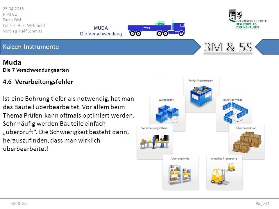 3M & 5S 25.04.2013 FTM 02 Fach: QM Lehrer: Herr Weinhold Vortrag: Ralf Schmitz Page11 Kaizen-Instrumente Die 7 Verschwendungsarten Muda 4.6 Verarbeitu