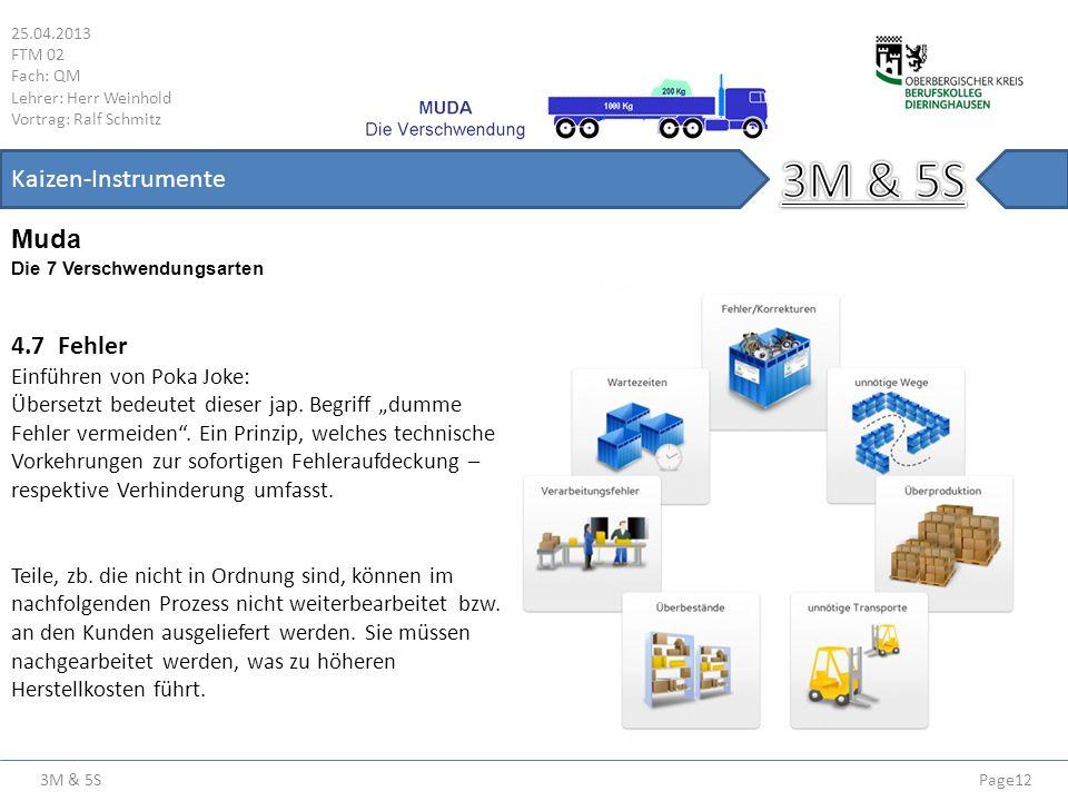 3M & 5S 25.04.2013 FTM 02 Fach: QM Lehrer: Herr Weinhold Vortrag: Ralf Schmitz Page12 Kaizen-Instrumente Die 7 Verschwendungsarten Muda 4.7 Fehler Ein