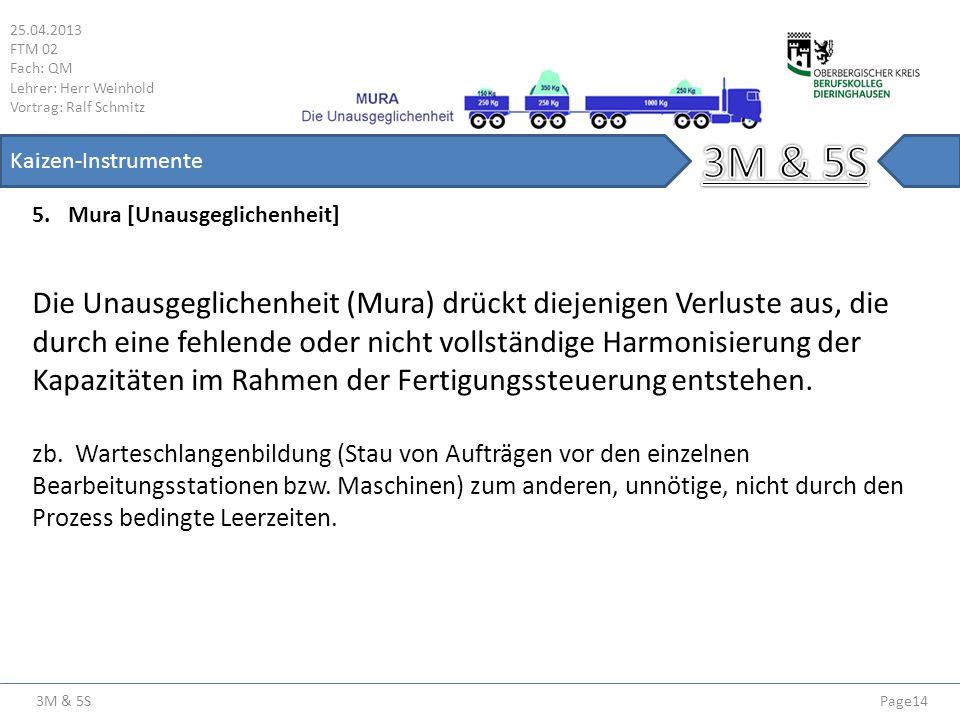 3M & 5S 25.04.2013 FTM 02 Fach: QM Lehrer: Herr Weinhold Vortrag: Ralf Schmitz Page14 Kaizen-Instrumente 5.Mura [Unausgeglichenheit] Die Unausgegliche