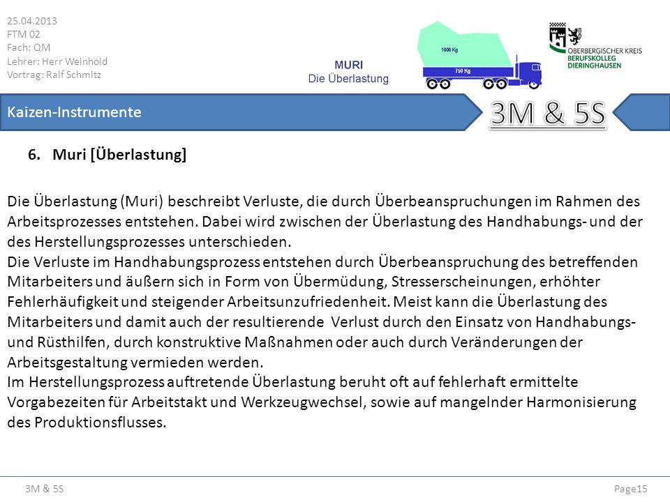 3M & 5S 25.04.2013 FTM 02 Fach: QM Lehrer: Herr Weinhold Vortrag: Ralf Schmitz Page15 Kaizen-Instrumente Die Überlastung (Muri) beschreibt Verluste, d