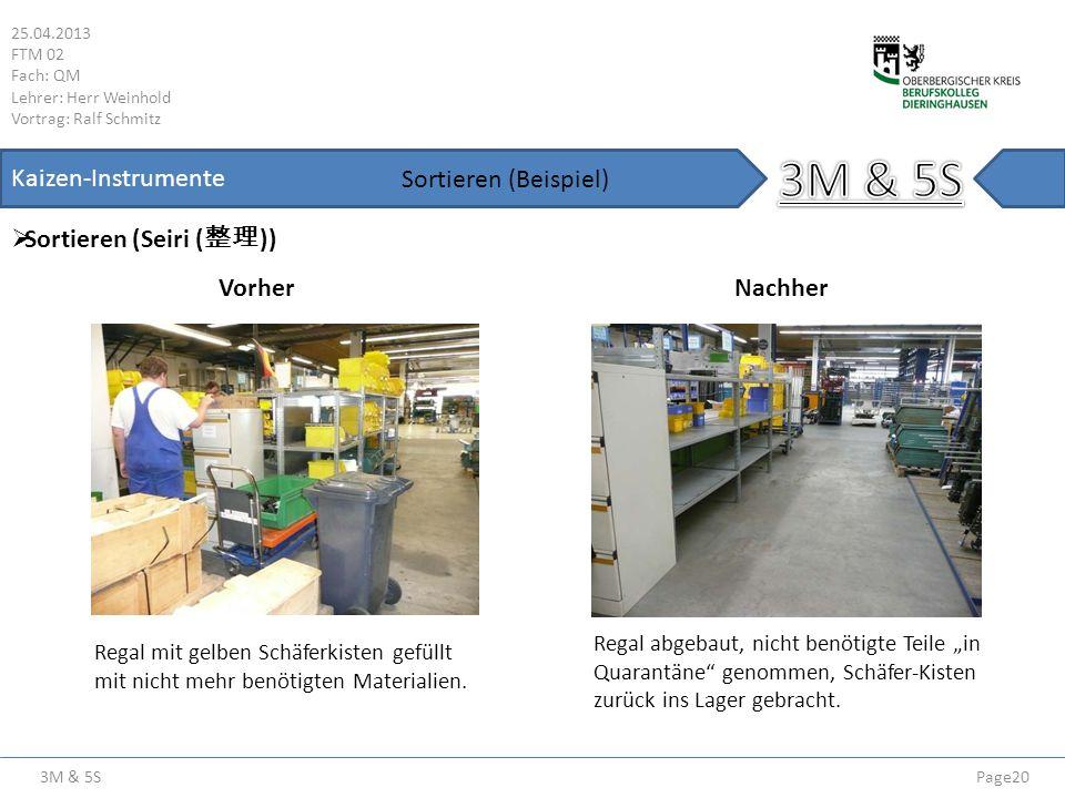 3M & 5S 25.04.2013 FTM 02 Fach: QM Lehrer: Herr Weinhold Vortrag: Ralf Schmitz Page20 Kaizen-Instrumente Sortieren (Seiri ( )) Sortieren (Beispiel) Vo