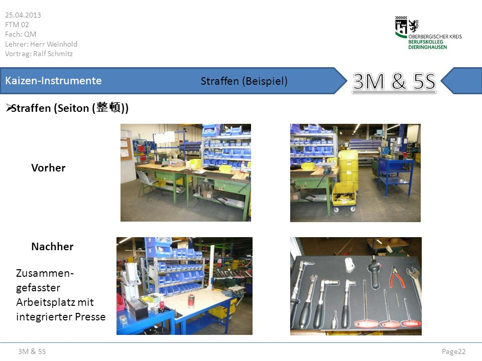 3M & 5S 25.04.2013 FTM 02 Fach: QM Lehrer: Herr Weinhold Vortrag: Ralf Schmitz Page22 Kaizen-Instrumente Straffen (Seiton ( )) Straffen (Beispiel) Vor