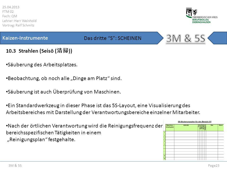 3M & 5S 25.04.2013 FTM 02 Fach: QM Lehrer: Herr Weinhold Vortrag: Ralf Schmitz Page23 Kaizen-Instrumente 10.3 Strahlen (Seisō ( )) Das dritte S: SCHEI