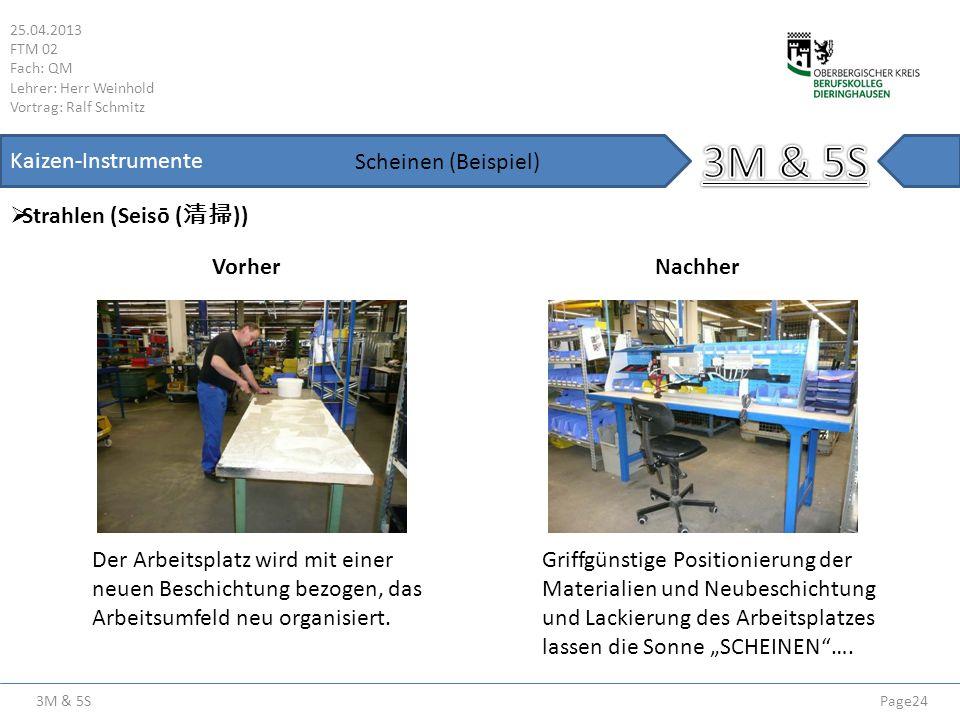 3M & 5S 25.04.2013 FTM 02 Fach: QM Lehrer: Herr Weinhold Vortrag: Ralf Schmitz Page24 Kaizen-Instrumente Strahlen (Seisō ( )) Scheinen (Beispiel) Vorh