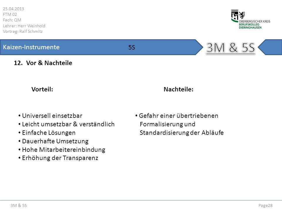 3M & 5S 25.04.2013 FTM 02 Fach: QM Lehrer: Herr Weinhold Vortrag: Ralf Schmitz Page28 Kaizen-Instrumente 12. Vor & Nachteile 5S Vorteil:Nachteile: Uni