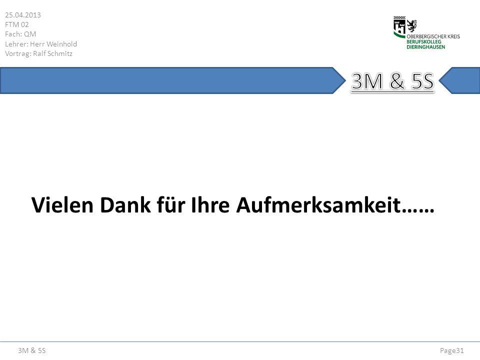 3M & 5S 25.04.2013 FTM 02 Fach: QM Lehrer: Herr Weinhold Vortrag: Ralf Schmitz Page31 Vielen Dank für Ihre Aufmerksamkeit……