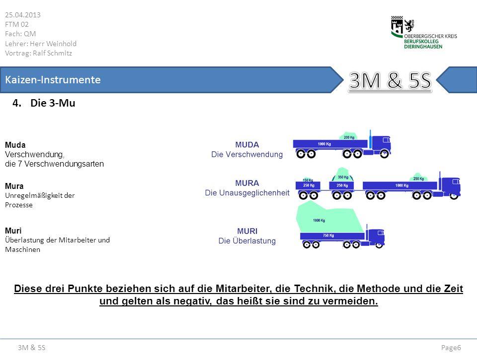 3M & 5S 25.04.2013 FTM 02 Fach: QM Lehrer: Herr Weinhold Vortrag: Ralf Schmitz Page7 Kaizen-Instrumente 4.1 Muda & Die 7 Verschwendungsarten 4.2 Überproduktion Wenn mehr produziert wird als geplant ist, spricht man von einer Überproduktion.