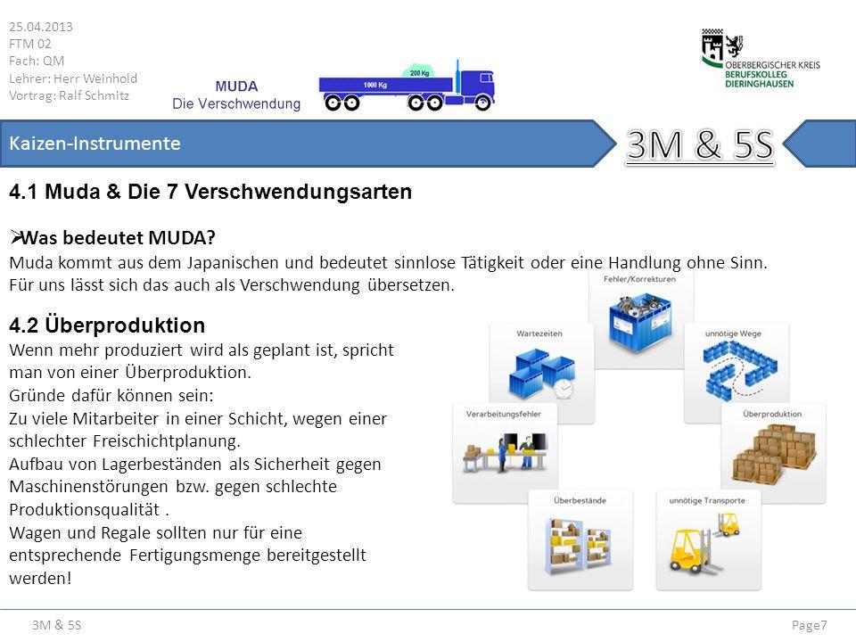 3M & 5S 25.04.2013 FTM 02 Fach: QM Lehrer: Herr Weinhold Vortrag: Ralf Schmitz Page7 Kaizen-Instrumente 4.1 Muda & Die 7 Verschwendungsarten 4.2 Überp