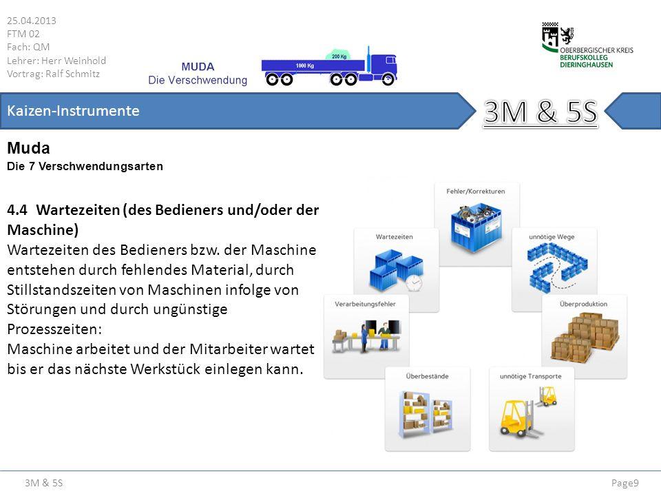 3M & 5S 25.04.2013 FTM 02 Fach: QM Lehrer: Herr Weinhold Vortrag: Ralf Schmitz Page20 Kaizen-Instrumente Sortieren (Seiri ( )) Sortieren (Beispiel) VorherNachher Regal mit gelben Schäferkisten gefüllt mit nicht mehr benötigten Materialien.