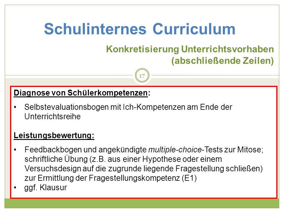 Schulinternes Curriculum Konkretisierung Unterrichtsvorhaben (abschließende Zeilen) Diagnose von Schülerkompetenzen: Selbstevaluationsbogen mit Ich-Ko