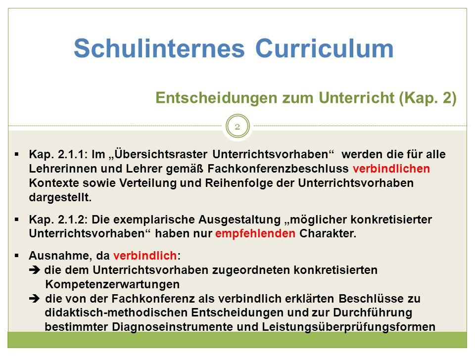 Entscheidungen zum Unterricht (Kap. 2) Kap. 2.1.1: Im Übersichtsraster Unterrichtsvorhaben werden die für alle Lehrerinnen und Lehrer gemäß Fachkonfer