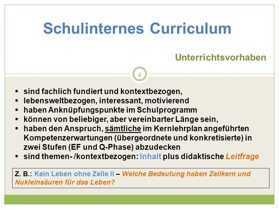 Schulinternes Curriculum Unterrichtsvorhaben sind fachlich fundiert und kontextbezogen, lebensweltbezogen, interessant, motivierend haben Anknüpfungsp