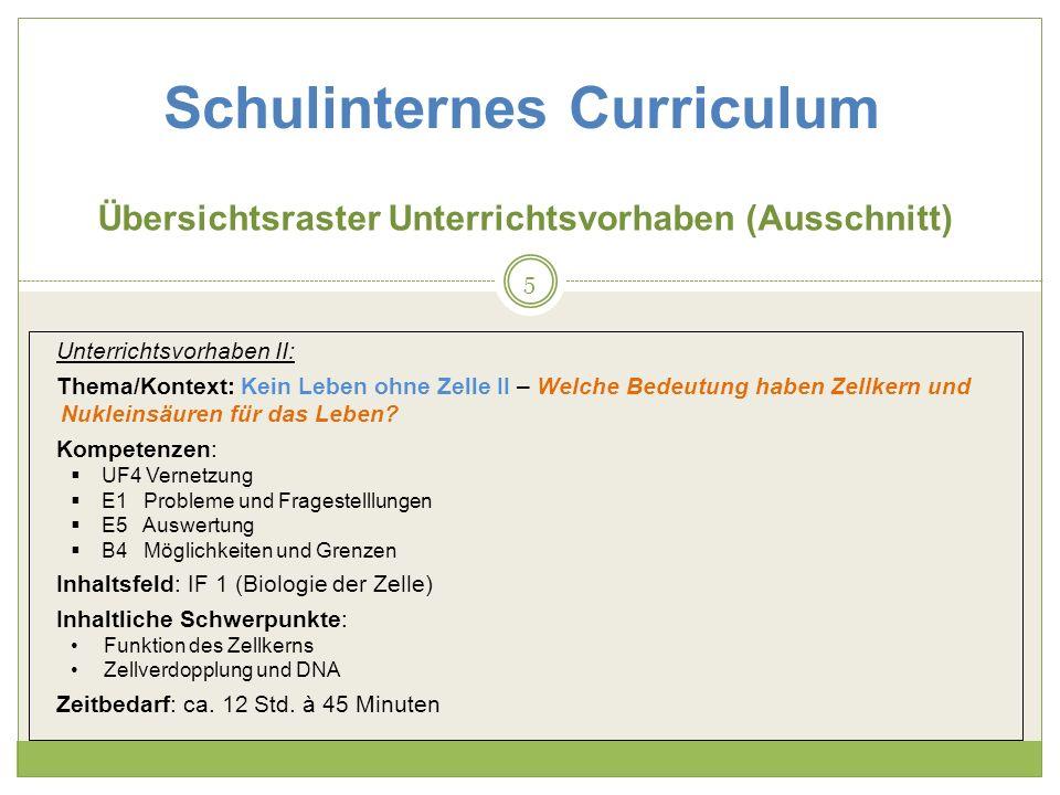 Schulinternes Curriculum Übersichtsraster Unterrichtsvorhaben (Ausschnitt) Unterrichtsvorhaben II: Thema/Kontext: Kein Leben ohne Zelle II – Welche Be