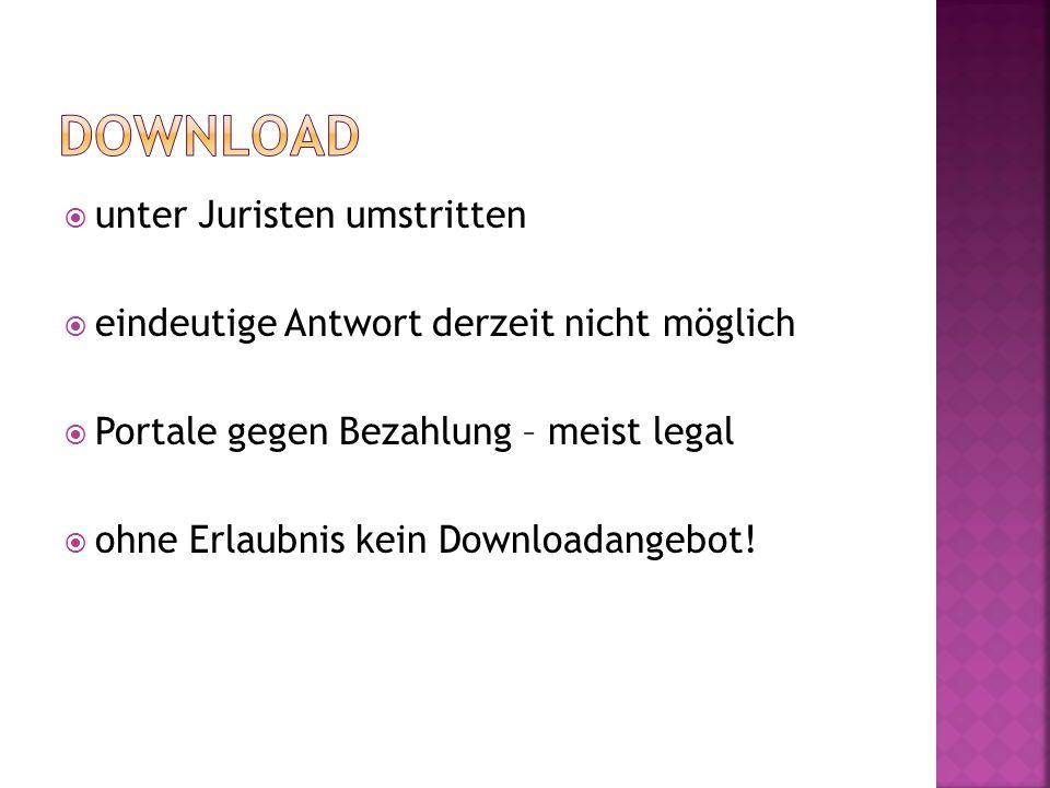 unter Juristen umstritten eindeutige Antwort derzeit nicht möglich Portale gegen Bezahlung – meist legal ohne Erlaubnis kein Downloadangebot!